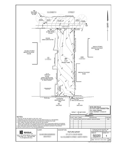Feature Survey Plan by Driscolls Land Surveyors